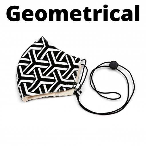 unique black and white cotton geometrical face mask adjustable with pocket for filter