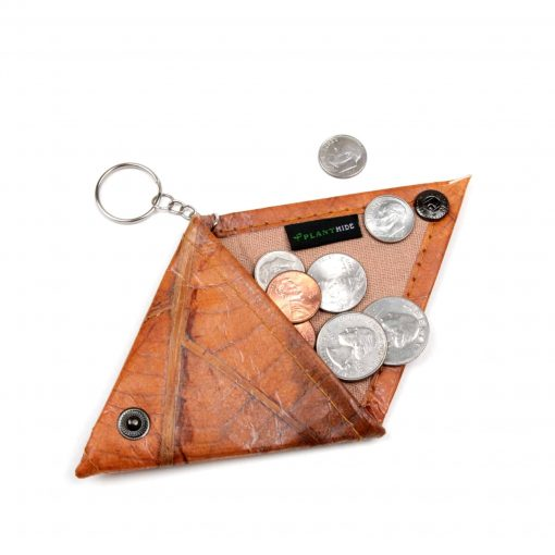 Orange Vegan Minimalist Keychain Coin Purse Holder