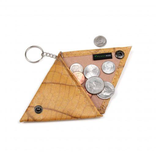 Yellow Vegan Keychain Coin Purse Holder