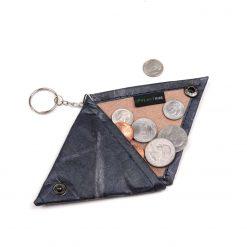Blue Vegan Keychain Coin Purse Holder