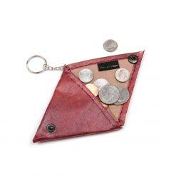 Red Vegan Keychain Coin Purse Holder
