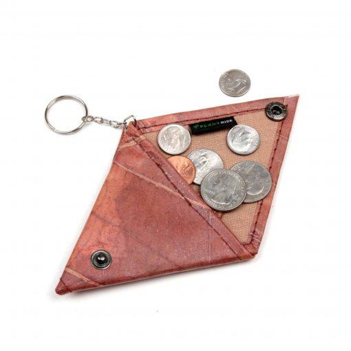 Brown Vegan Keychain Coin Purse Holder