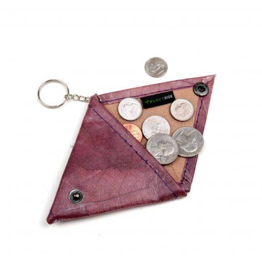 Purple Vegan Keychain Coin Purse Holder