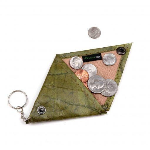 Green Vegan Keychain Coin Purse Holder
