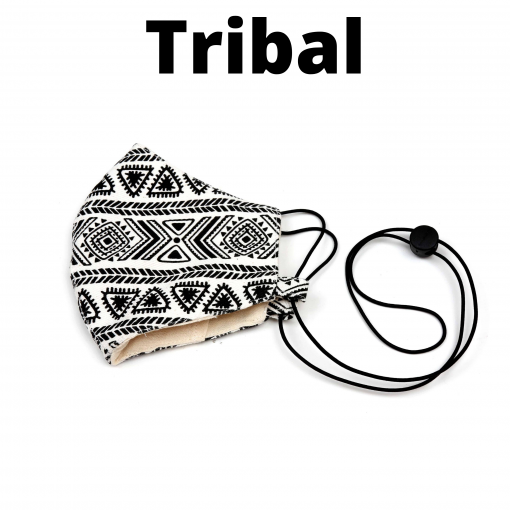 unique cotton tribal black and white face mask adjustable with pocket for filter