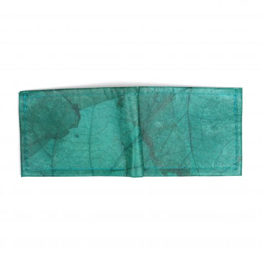 Turquoise Vegan Leather Bifold Wallet Faux Leather Plant Based Leather Wallet Leather Alternative