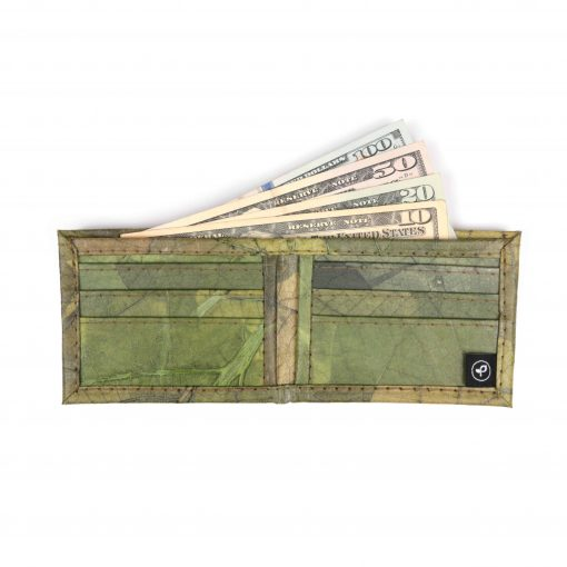Green Vegan Leather Bifold Wallet Faux Leather Plant Based Leather Wallet Leather Alternative
