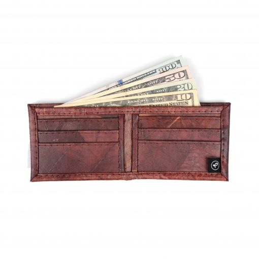 Brown Vegan Leather Bifold Wallet Faux Leather Plant Based Leather Wallet Leather Alternative