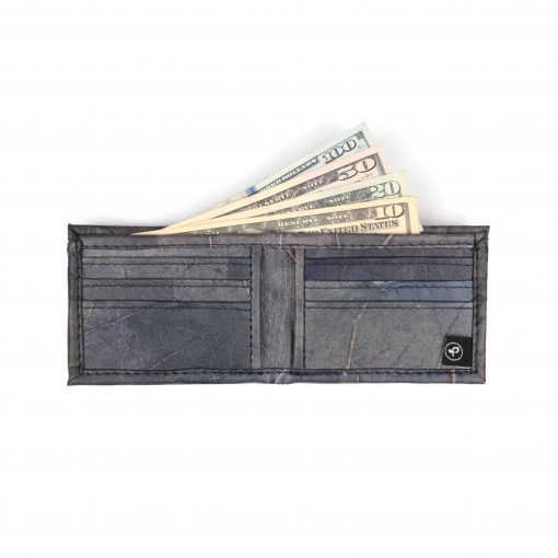 Black Vegan Leather Bifold Wallet Faux Leather Plant Based Leather Wallet Leather Alternative