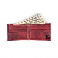 Red Vegan Leather Bifold Wallet Faux Leather Plant Based Leather Wallet Leather Alternative