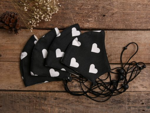 Black and White Heart Patterned Adjustable Face Masks