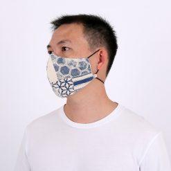 Blue Geometric Patterned Face Mask