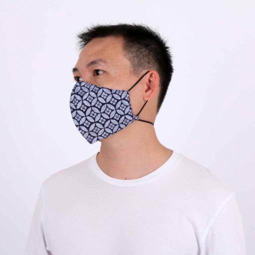 Blue Geometric Adjustable Face Mask