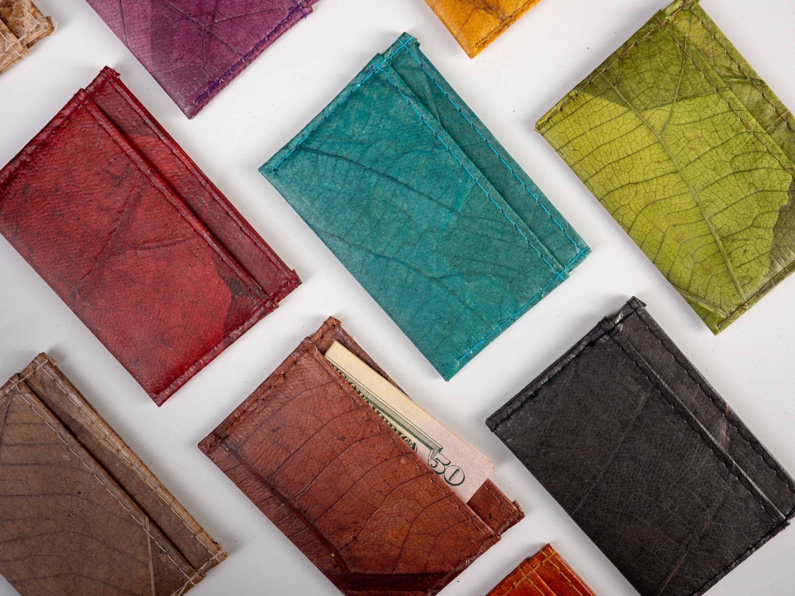 vegan leather products plant hide minimalist wallets