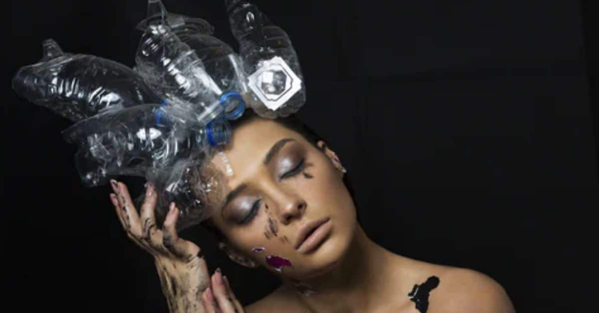 eco-friendly girl with plastic bottle crown