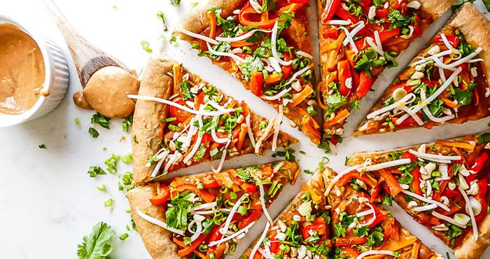 Thai peanut veggies pizza